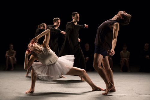 "Zina Zinchenco and Bret Easterling (front) and Or Meir Schraiber, Matan Cohen and Yoni Simon (rear) in a scene from Ohad Naharin's ""Last Work"" performed by Batsheva Dance Company (Photo credit: Julieta Cervantes)"