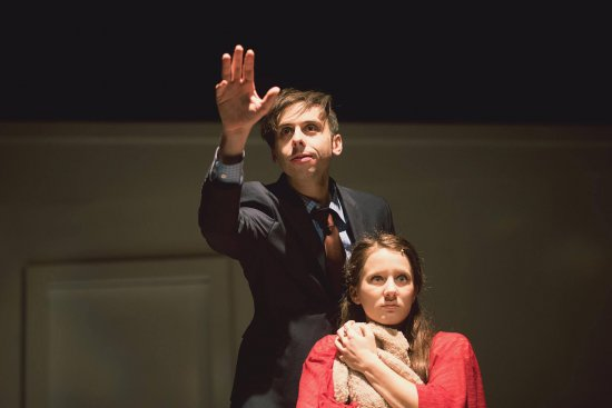 "Josh Bardier and Erin Kommor and in a scene from ""Interview: A New Musical"""