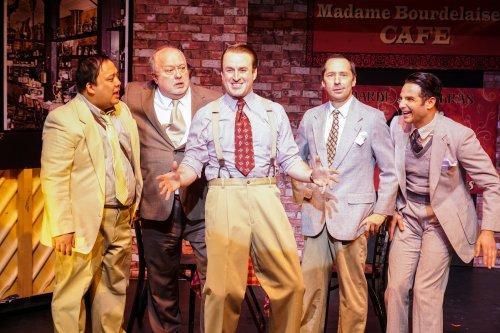 "Jay Paranada, Tony Triano, Morgan McCann, Charles Rubey and Michael Fasano in a scene from Irving Berlin's ""Louisiana Purchase"" (Photo credit: Tyler Milliron/Milliron Studios)"