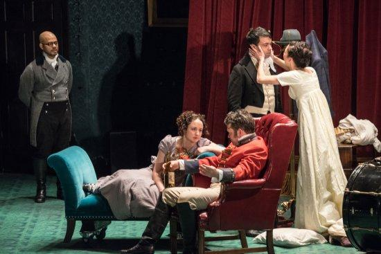 """Ryan Quinn, Kate Hamill, Tom O'Keefe, Debargo Sanyal and Joey Parsons in a scene from The Pearl Theater Co.'s """"Vanity Fair"""" Photo credit: Russ Rowland"""