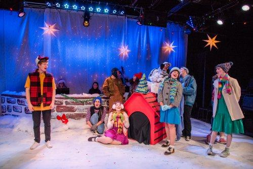 a scene from the secret theatres production of a charlie brown christmas photo credit reiko yanagi