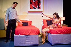 Charles Dorfman (Guy) and Roxanne Pallett (Tyler) in Buckland Theatre Company's Some Girl(s) at Park Theatre. Credit Claire Bilyard (7)