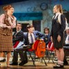 Lara Denning as Miss Elf, Rufus Kampa as Adrian and Rebecca Nardin as Pandora in The Secret Diary of Adrian Mole at the Ambassadors Theatre