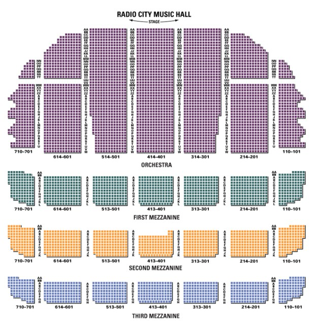Radiocity seating chart for House music charts