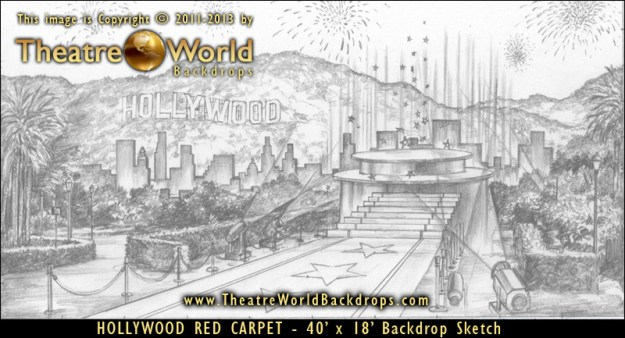Hollywood Red Carpet Professional Scenic Backdrop Concept Sketch