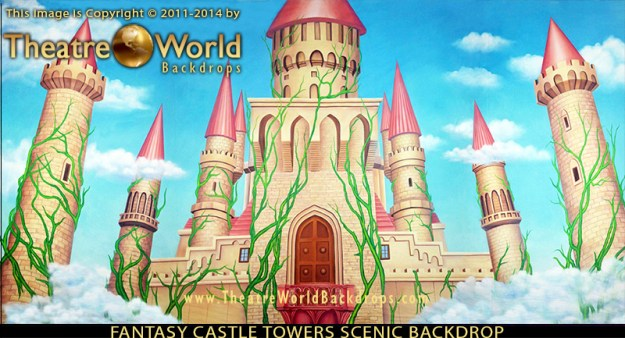 Fantasy Castle Towers Professional Scenic Backdrop for SHREK THE MUSICAL