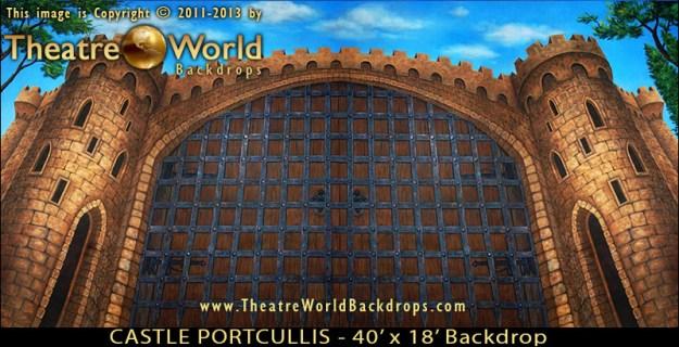 Professional Castle Portcullis Scenic Backdrop for Monty Python's SPAMALOT