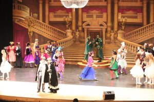 Student Performers in Park Hill South's Phantom of the Opera with Professional Grand Theater Foyer Scenic Backdrop