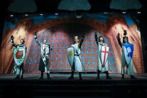 West Potomac High Performers in Spamalot with TheatreWorld Professional Scenic Castle Portcullis Scenic Backdrop