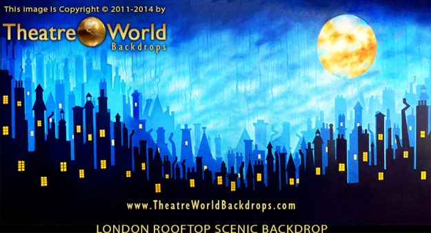 London Rooftops Professional Scenic Backdrop for Mary Poppins