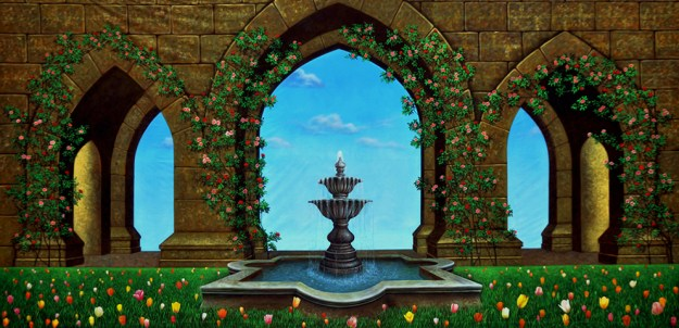 Belle's Garden - B Professional Scenic Alice in Wonderland Backdrop