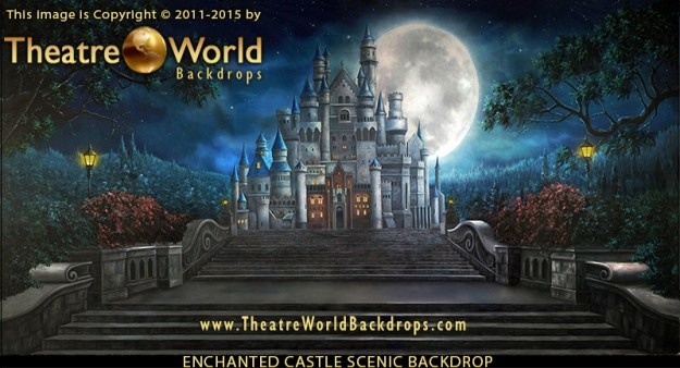 Professional Enchanted Castle Scenic Backdrop
