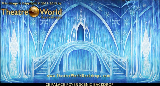 Professional Frozen Scenic Backdrop Ice Palace Foyer