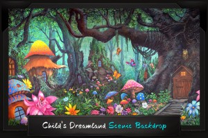 Professional Alice in Wonderland Child's Dreamland Scenic Backdrop