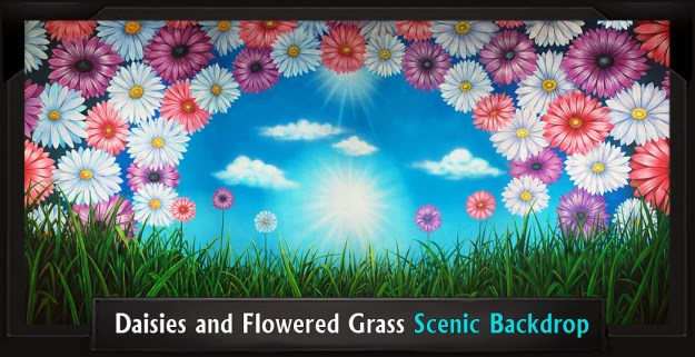 DAISIES AND FLOWERED GRASS Professional Scenic Shrek Backdrop