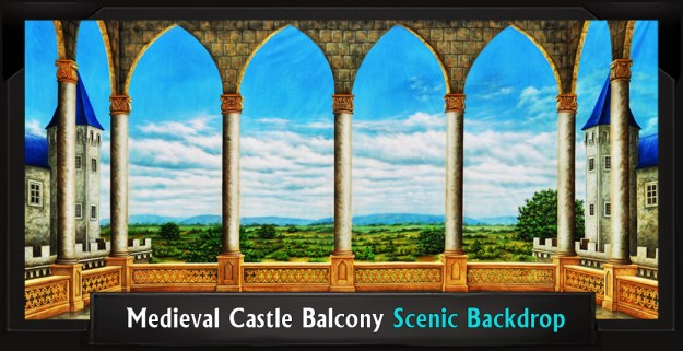 MEDIEVAL CASTLE BALCONY Professional Scenic Shrek Backdrop