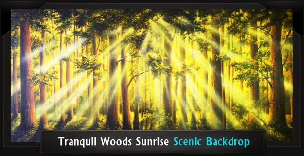 Tranquil Woods Sunrise Professional Scenic Shrek Backdrop