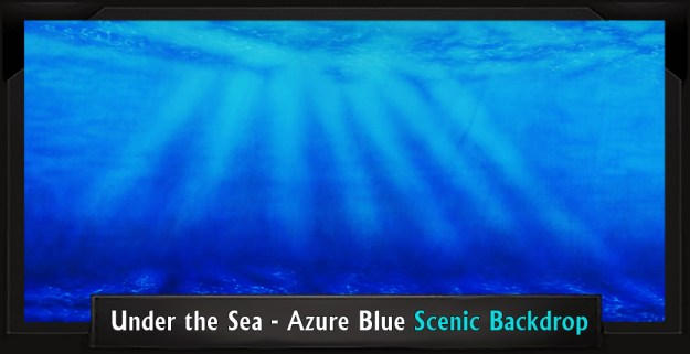 Under the Sea - Azure Blue Professional Scenic Little Mermaid Backdrop