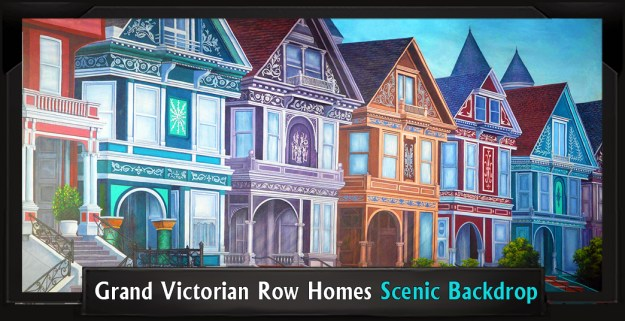 Grand Victorian Row Homes Professional Scenic Mary Poppins Backdrop