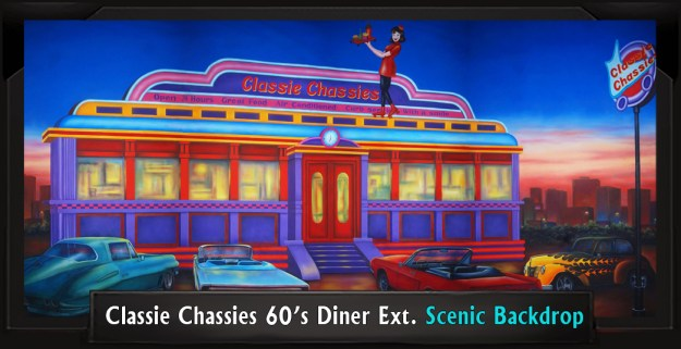Classie Chassies 60's Diner Exterior Professional Scenic Grease Backdrp