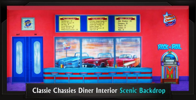 Classie Chassies Diner Interior Professional Scenic Grease Backdrop