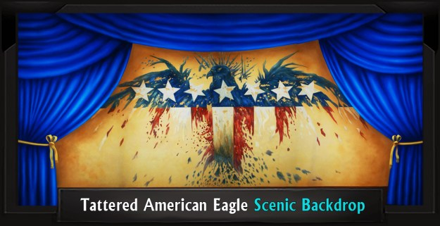 Tattered American Eagle Professional Scenic Grease Backdrop