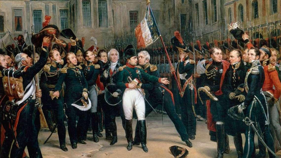Adieux de Napoléon à la Garde impériale dans la cour du Cheval-Blanc du château de Fontainebleau. Peintre : Antoine Alphonse MONTFORT (1802-1884)
