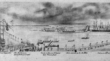 Le canal de Suez le jour de son inauguration, le 17 novembre 1869, par le vice-amiral François Edmond Pâris.