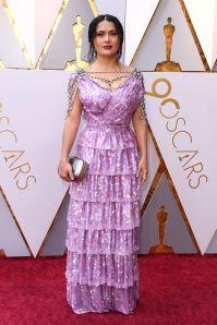 Salma Hayek in Gucci e gioielli Harry Winston agli Oscars 2018, LA