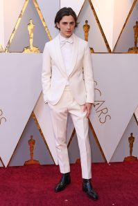 Timothée Chalamet in Berluti agli Oscars 2018, LA