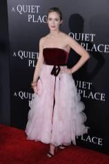 Emily Blunt in Oscar de la Renta al'A Quiet Place' premiere, New York