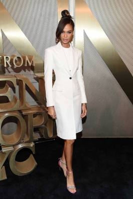 Joan Smalls in Calvin Klein e gioielli David Yurman al Nordstrom Mens Party, New York
