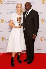 Michelle Clapton ed Edward Enninful in Burberry ai British Academy Television Craft Awards, London