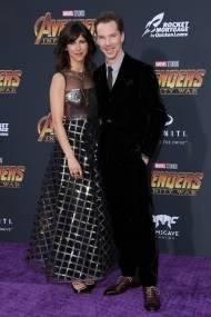 Sophie Hunter in Dior e Benedict Cumberbatch in Giorgio Armani all''Avengers Infinity War' premiere, Los Angeles