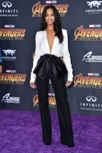 Zoe Saldana in Givenchy all''Avengers Infinity War' premiere, Los Angeles