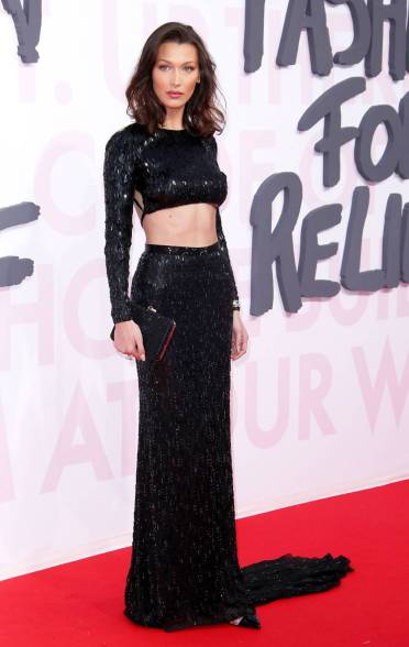 Bella Hadid in Julien Macdonald al Fashion For Relief, Cannes Film Festival