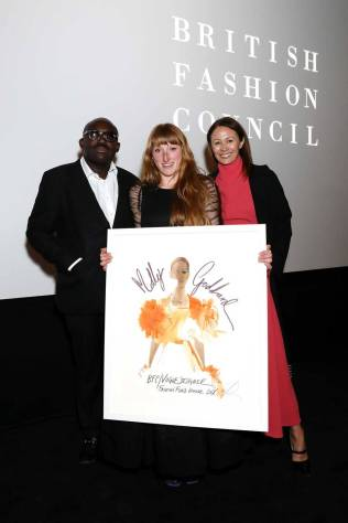 Edward Enninful, Mlly Goddard e Caroline Rush al The BFCVogue Designer Fashion Fund Party