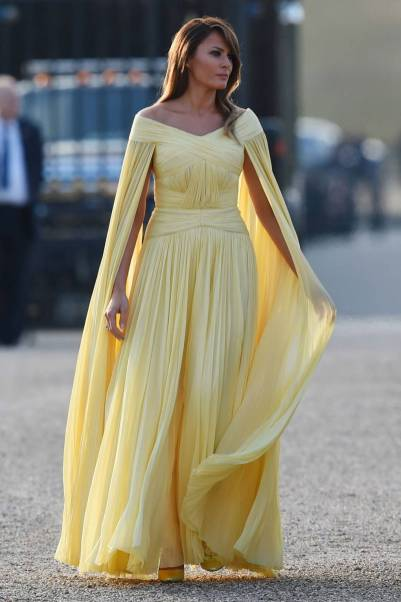 Melania Trump in J.Mendel al Blenheim Palace State Dinner