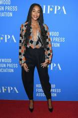 Laura Harrier in Louis Vuitton al Hollywood Foreign Press Association's grants banquet, Beverly Hills