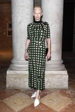 Tilda Swinton in Miu Miu al Dinner celebration for Miu Miu Women's Tales screening, Venice