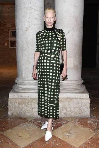 Tilda Swinton in Miu Miu al Dinner celebration for Miu Miu Women's Tales screening, Venice