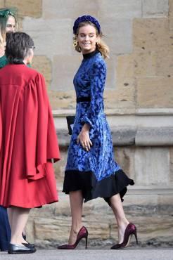 Cressida Bonas in Tory Burch al matrimonio della Principessa Eugenia di York, Windsor