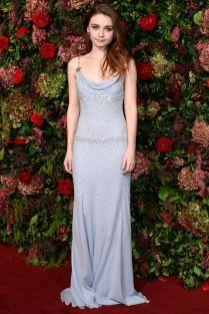 Jessica Barden in Miu Miu ai Evening Standard Theatre Awards, London