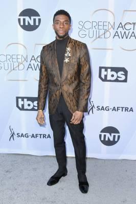 Chadwick Boseman in Ermenegildo Zegna ai SAG Awards 2019