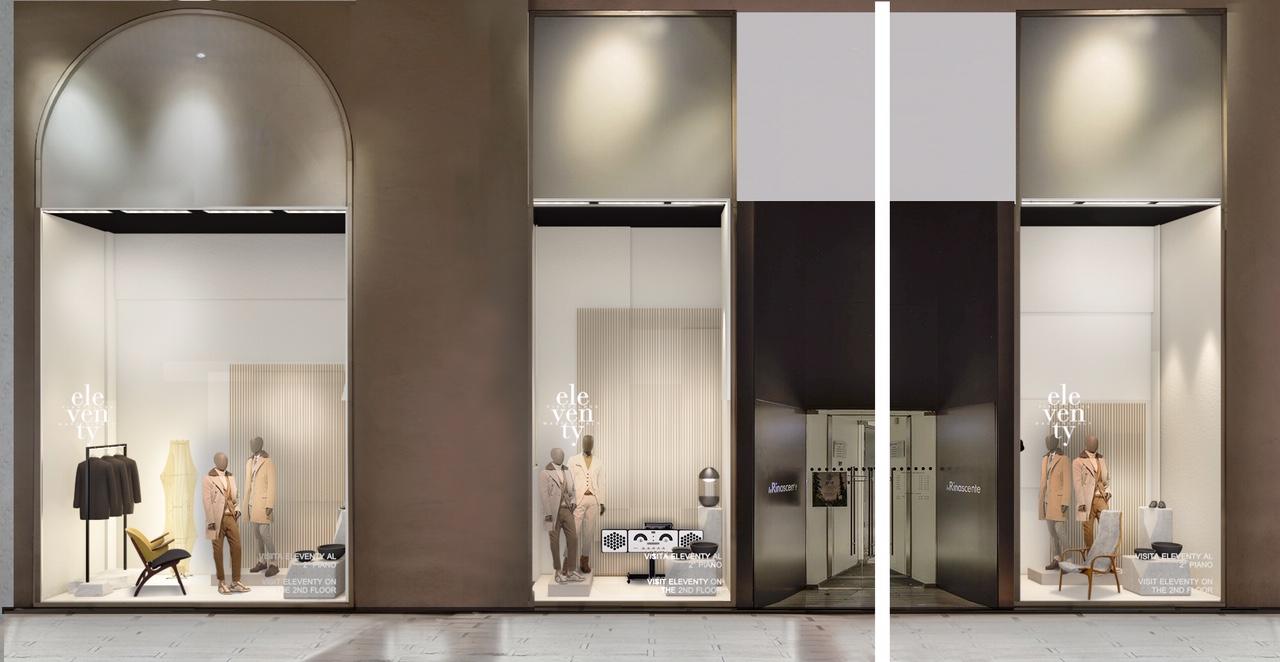 Rinascente Milano dedica tre vetrine alla collezione uomo Eleventy SS19