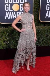Emily Blunt in Alexander McQueen ai Golden Globes 2019