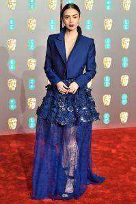 Lily Collins ai BAFTAs 2019, London