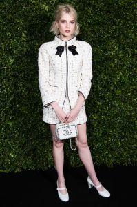 Lucy Boynton in Chanel ai pre-BAFTA dinner