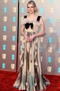Lucy Boynton in Dior Couture ai BAFTAs 2019, London