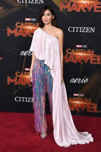 Gemma Chan in Ralph & Russo alla premiere of Captain Marvel, Hollywood